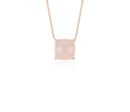 Cushion Cut Pink Agate Cabochon Pendant in 14k Rose Gold (10mm)