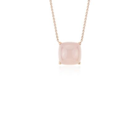 14k 玫瑰金 墊形切割粉紅瑪瑙磨光凸圓形吊墜<br>( 10毫米)