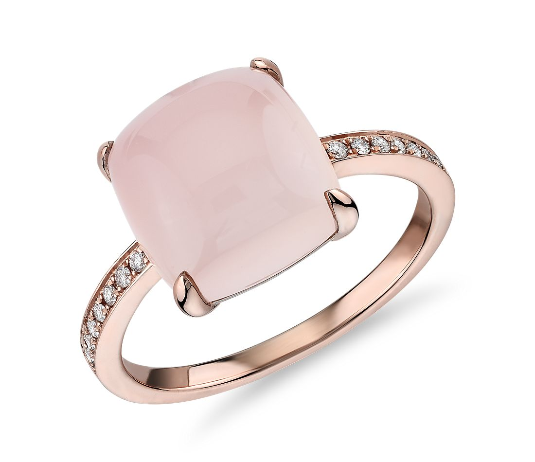 Cushion Cut Pink Agate Cabochon Ring with Diamond Sidestones in 14k Rose Gold (10mm)