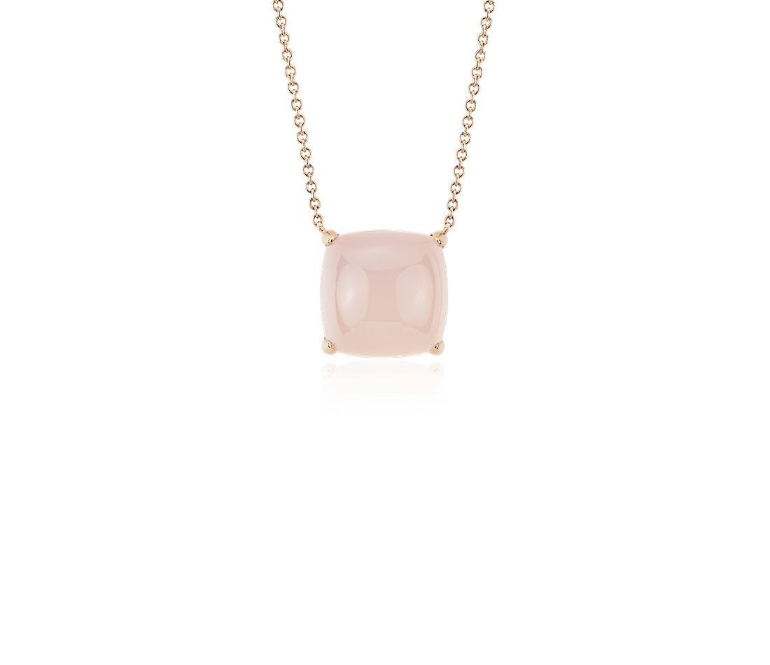 Cushion Cut Red Agate Cabochon Pendant in 14k Rose Gold (10mm)