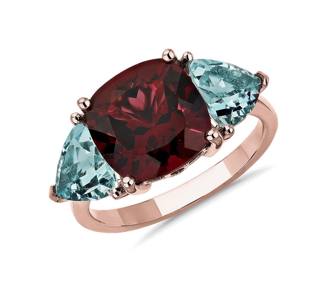Cushion Rhodolite and Aquamarine Trillion Ring in 14k Rose Gold