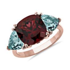 14k 玫瑰金墊形紅石榴石與海藍寶石三石戒指