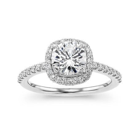 Cushion Rollover Diamond Halo Engagement Ring in 14k White Gold (2/5 ct. tw.)