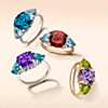 first alternate view of Cushion Rose de France Amethyst and Peridot Trillion Ring in 14k Yellow Gold