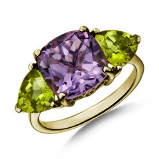 NEW Cushion Rose de France Amethyst and Peridot Trillion Ring in 14k Yellow Gold