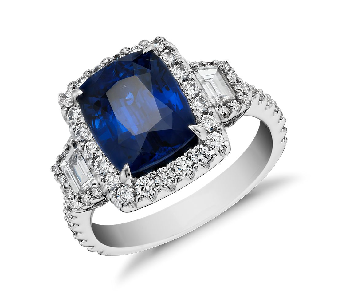 Sapphire and Diamond Halo Three-Stone Ring in 18k White Gold (3.65 ct) (9.8x7.8mm)
