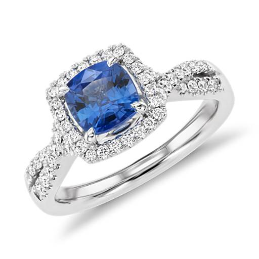 Cushion Cut Sapphire Diamond Halo Twist Engagement Ring In