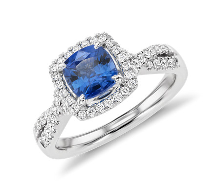 Cushion-Cut Sapphire Diamond Halo Twist Engagement Ring in 14k White Gold (6mm)