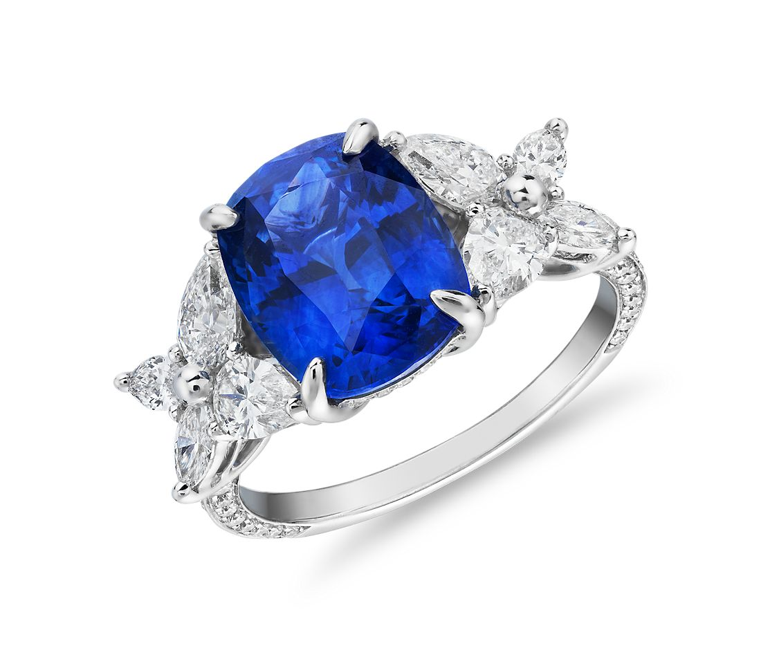 Cushion-Cut Sapphire Diamond Butterfly Sidestone Engagement Ring