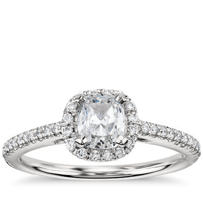 CushionCut Halo Diamond Engagement Ring in 14k White Gold 14 ct