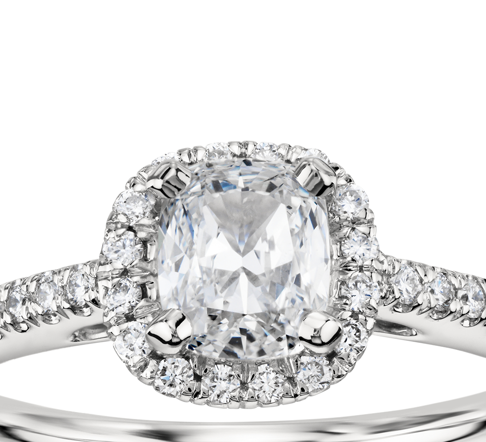 Cushion-Cut Halo Diamond Engagement Ring in 14k White Gold (1/4 ct. tw.)