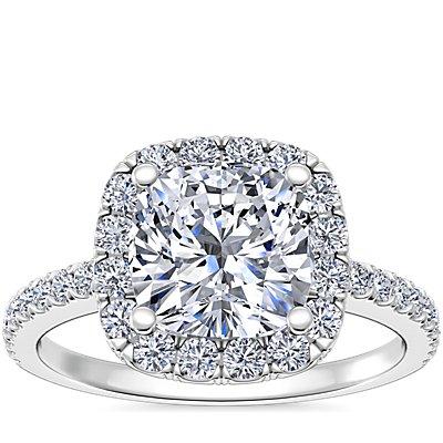 14k 白金墊形切割光環鑽石訂婚戒指(1/4 克拉總重量)
