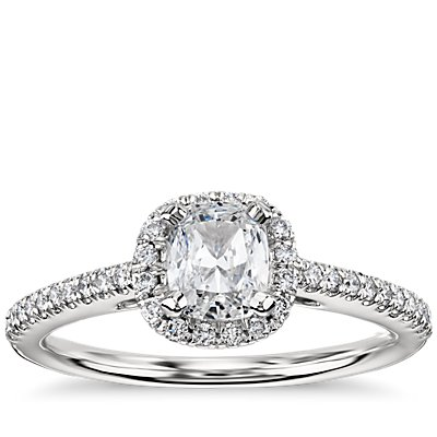 Cushion Cut Halo Diamond Engagement Ring in 14k white gold (0.22 ct. tw.)