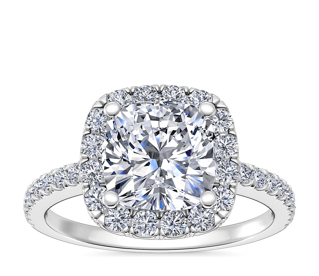 d32f33ada51 Cushion-Cut Halo Diamond Engagement Ring in 14k White Gold (1/4 ct. tw.) |  Blue Nile