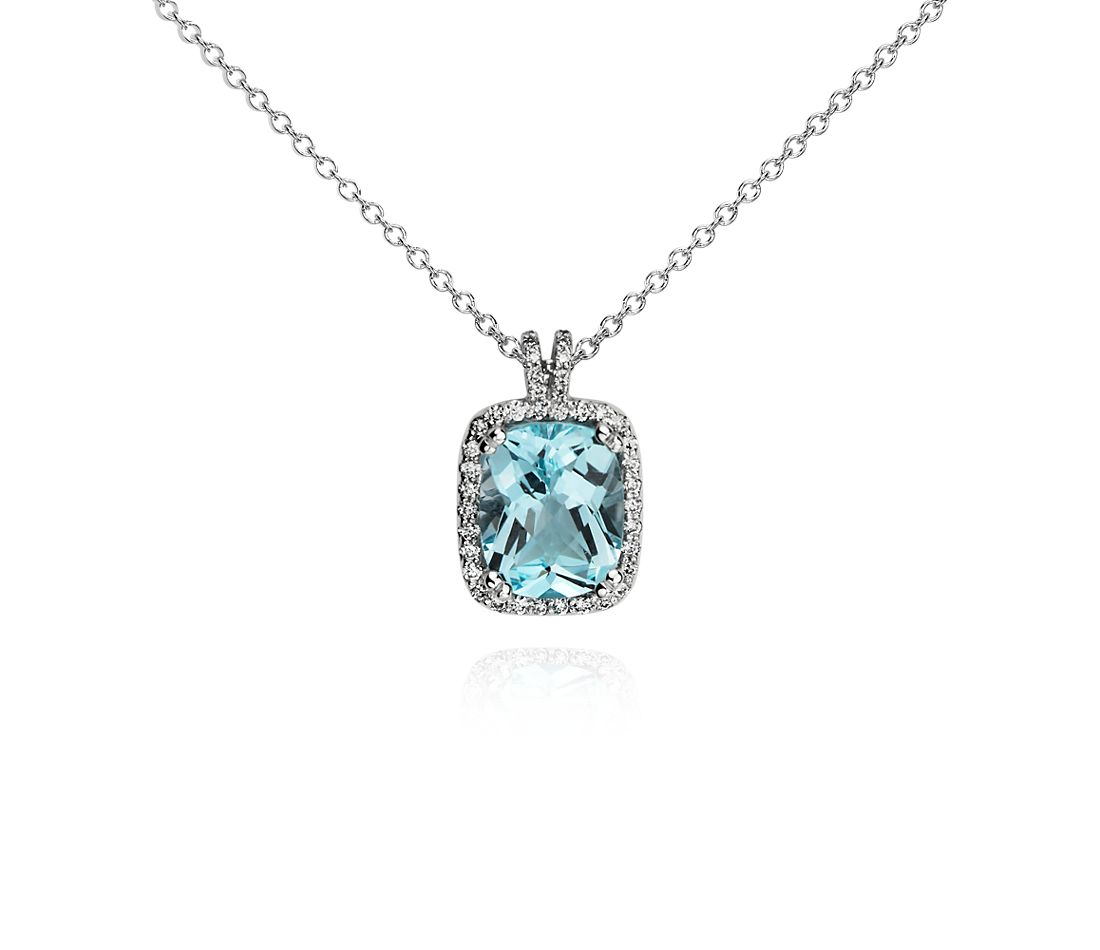 Sky Blue Topaz and Diamond Halo Cushion-Cut Pendant in 14k White Gold (10x8mm)