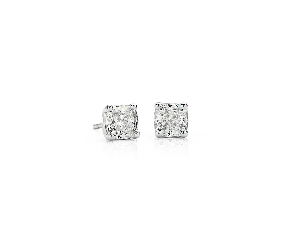 Diamond Stud Cushion-Cut Earrings in 18k White Gold (2 ct. tw.)
