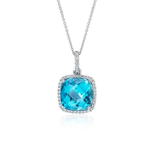 Cushion Cut Swiss Blue Topaz And Diamond Halo Pendant In