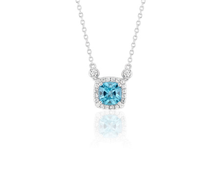 Cushion Swiss Blue Topaz White Topaz Halo Pendant in Sterling Silver (6mm)