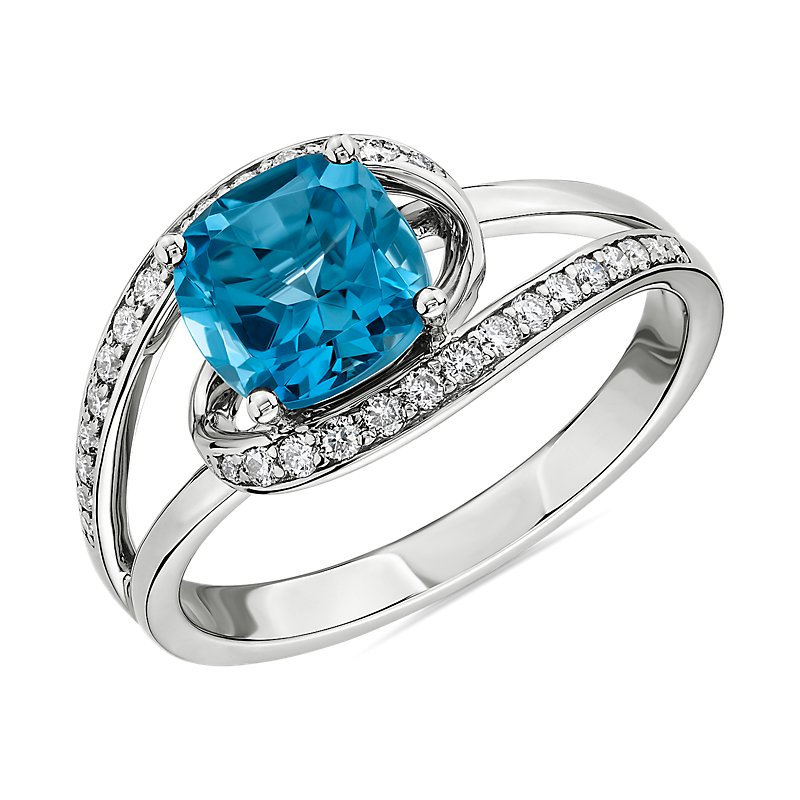 Cushion Cut Swiss Blue Topaz Ring with Twisting Halo in 14k White