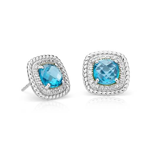 Earth mined 10 mm Bleu Calcédoine /& suisse topaze bleue Argent Sterling 925 Boucle d/'oreille