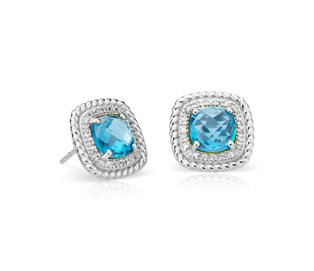 Corda Cushion-Cut Swiss Blue Topaz Halo Earrings in Sterling Silver (8mm)