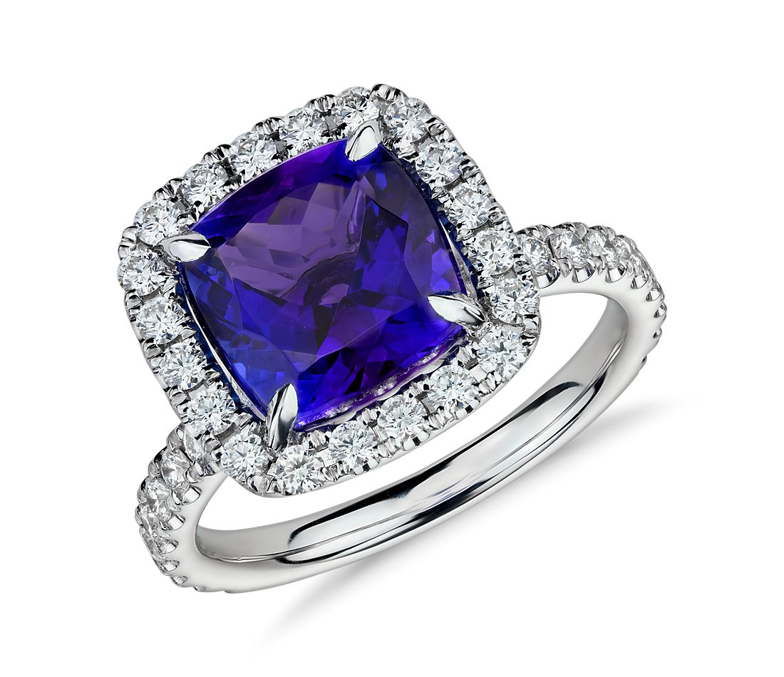 Tanzanite and Micropavé Diamond Halo Ring in 18k White ...
