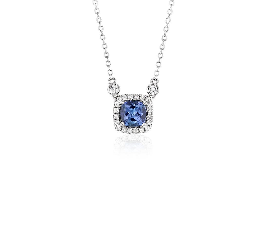 Cushion Tanzanite White Topaz Halo Pendant in 925 純銀 ( 6 毫米)