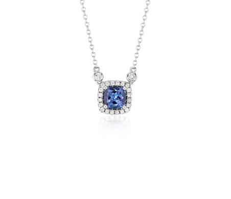 Cushion Tanzanite White Topaz Halo Pendant in Sterling Silver (6mm)