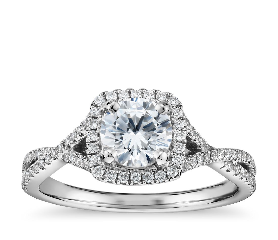 Cushion Twist Halo Diamond Engagement Ring In 14k White Gold 1 4 Ct Tw Blue Nile