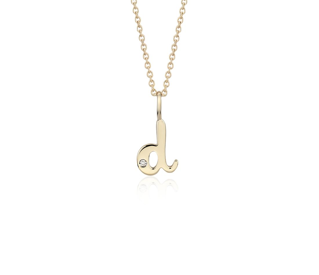 """D"" Mini Initial Pendant with Diamond Detail in 14k Yellow Gold"