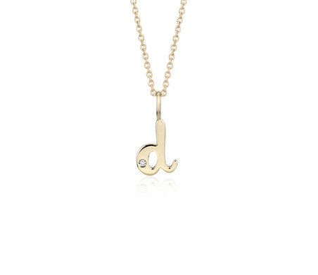 """D"" Mini Initial Diamond Pendant in 14k Yellow Gold"