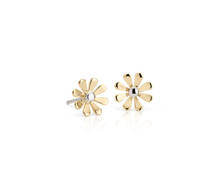 Daisy Stud Earrings in 14k Yellow and White Gold
