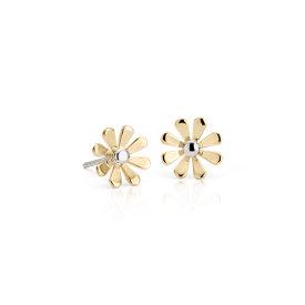 Puces d'oreilles marguerite en or jaune et blanc 14carats