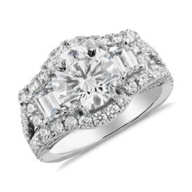 Bella Vaughan for Blue Nile Dalia Trapezoid Diamond Ring in Platinum (3.81 ct. tw.)