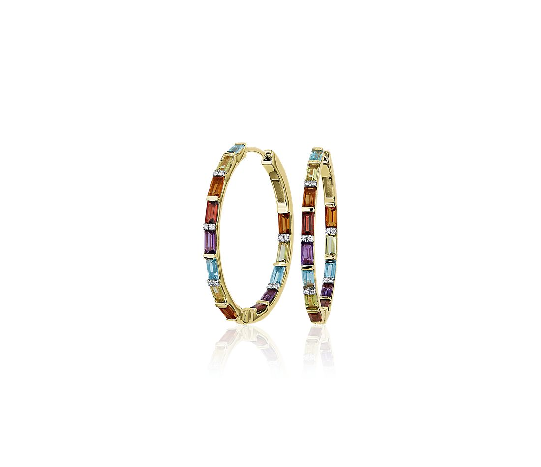 Dark Multi Rainbow Gemstone and Diamond Hoop Earrings in 14k Yellow Gold