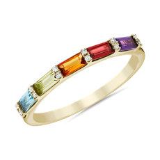 Dark Multi Rainbow Gemstone and Diamond Ring in 14k Yellow Gold