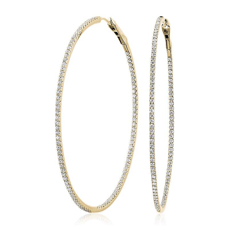 Dazzling Diamond Eternity Hoop Earrings in 14k Yellow Gold (2 ct.