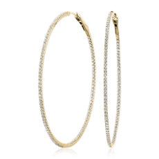 NOUVEAU Créoles diamant éternité éblouissantes en or jaune 14carats (2carats, poids total)