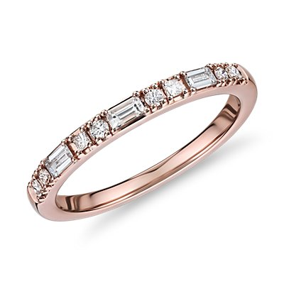 Dot Dash Diamond Ring in 14k Rose Gold