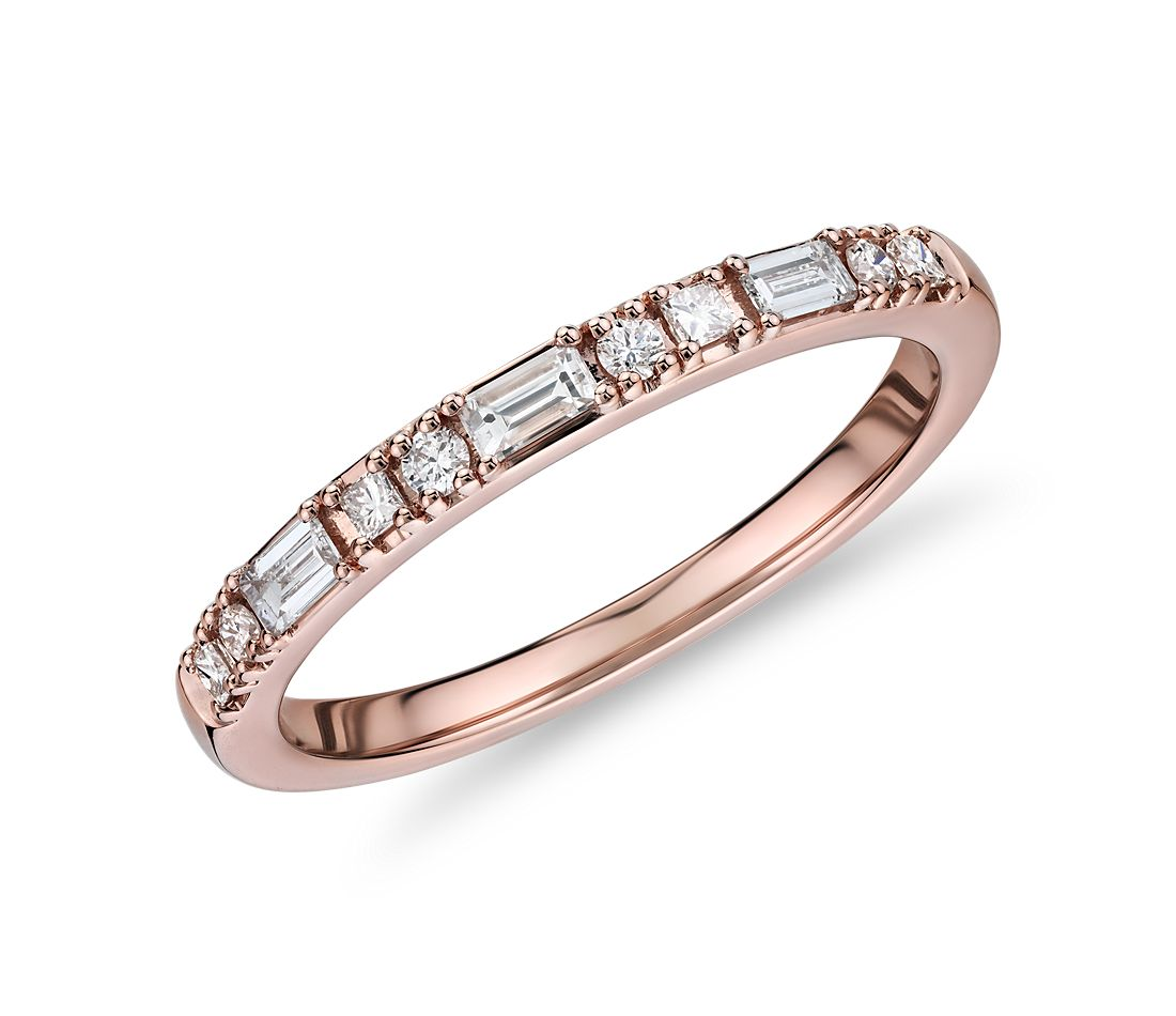Dot Dash Diamond Ring in 14k Rose Gold (1/4 cttw)