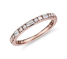 Dot Dash Diamond Ring in 14k Rose Gold