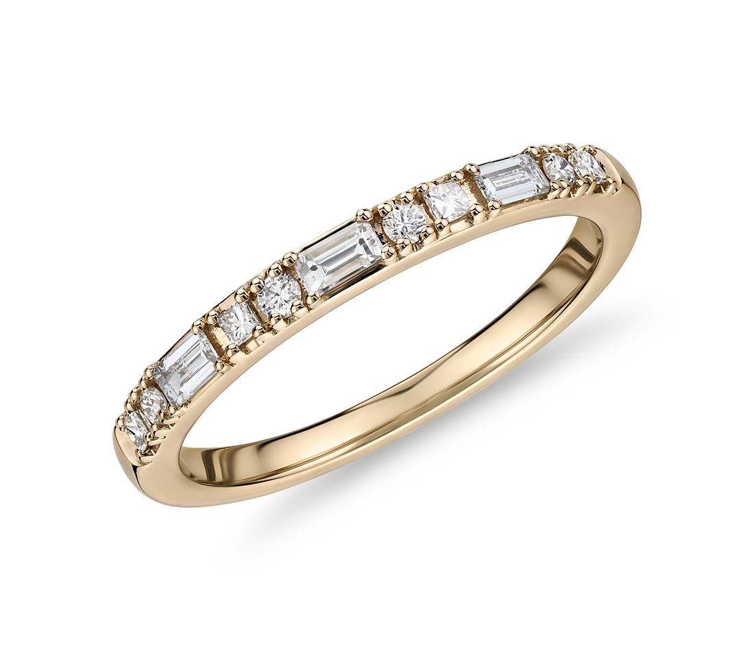 Dot Dash Diamond Ring in 14k Yellow Gold