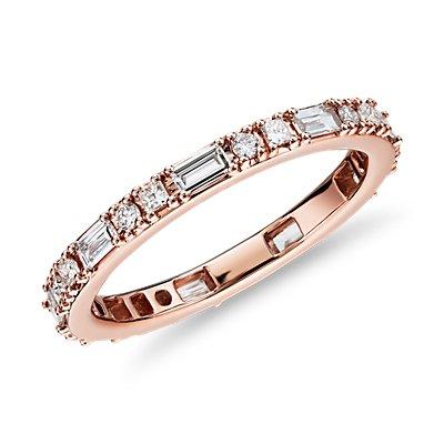 14k 玫瑰金圓點搭長條鑽石永恆戒指(3/4 克拉總重量)