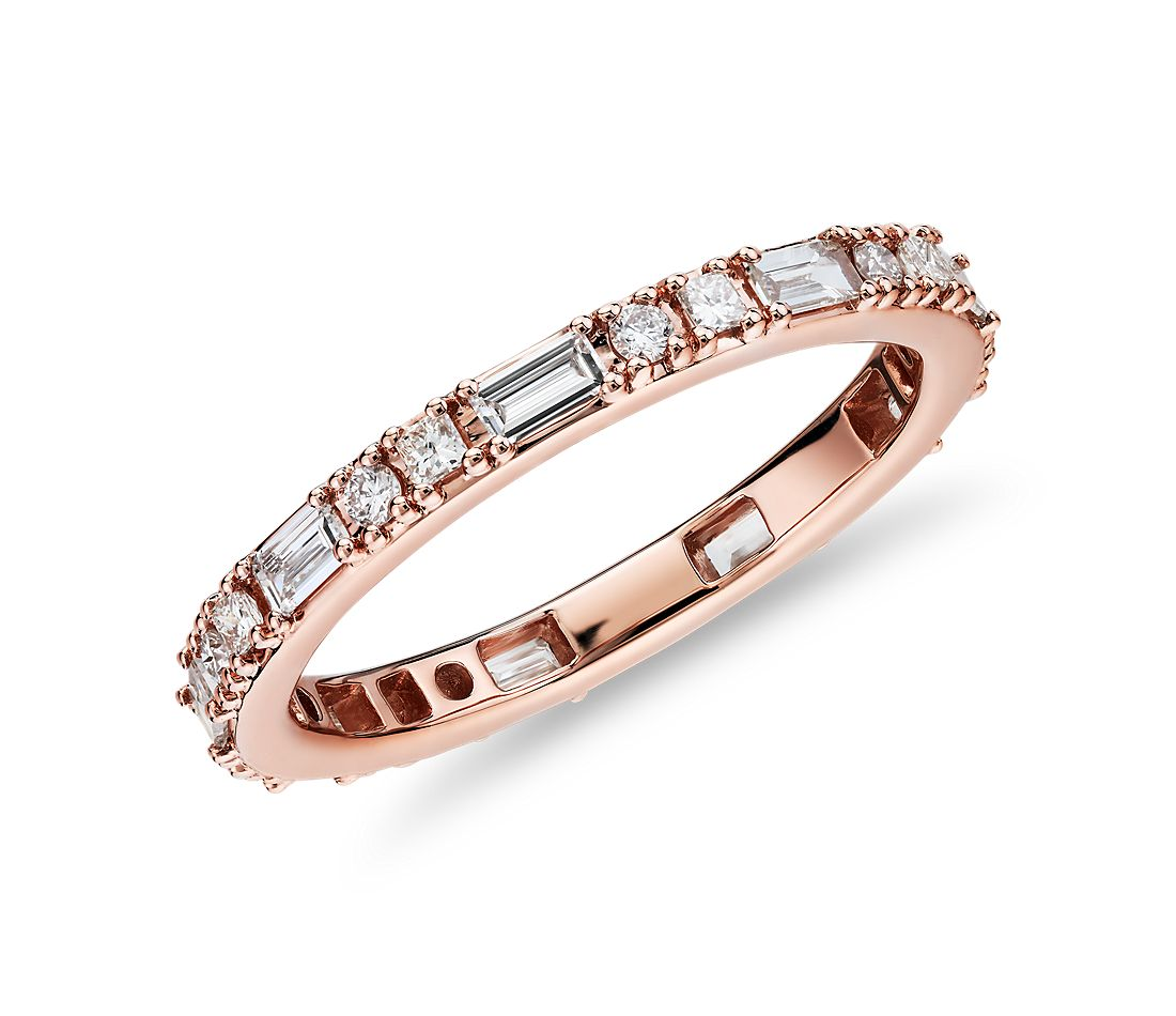 Dot Dash Diamond Eternity Ring in 14k Rose Gold (3/4 cttw)