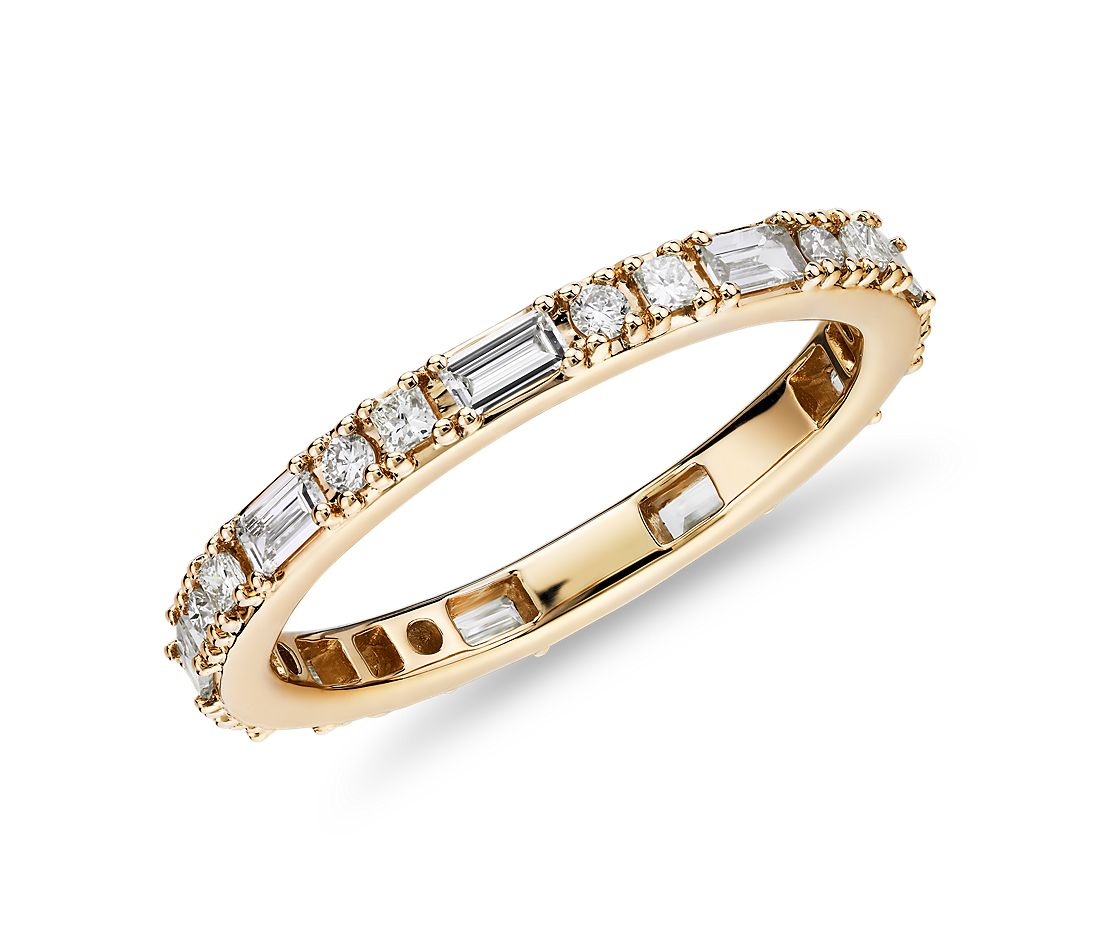 Dot Dash Diamond Eternity Ring in 14k Yellow Gold (3/4 cttw)