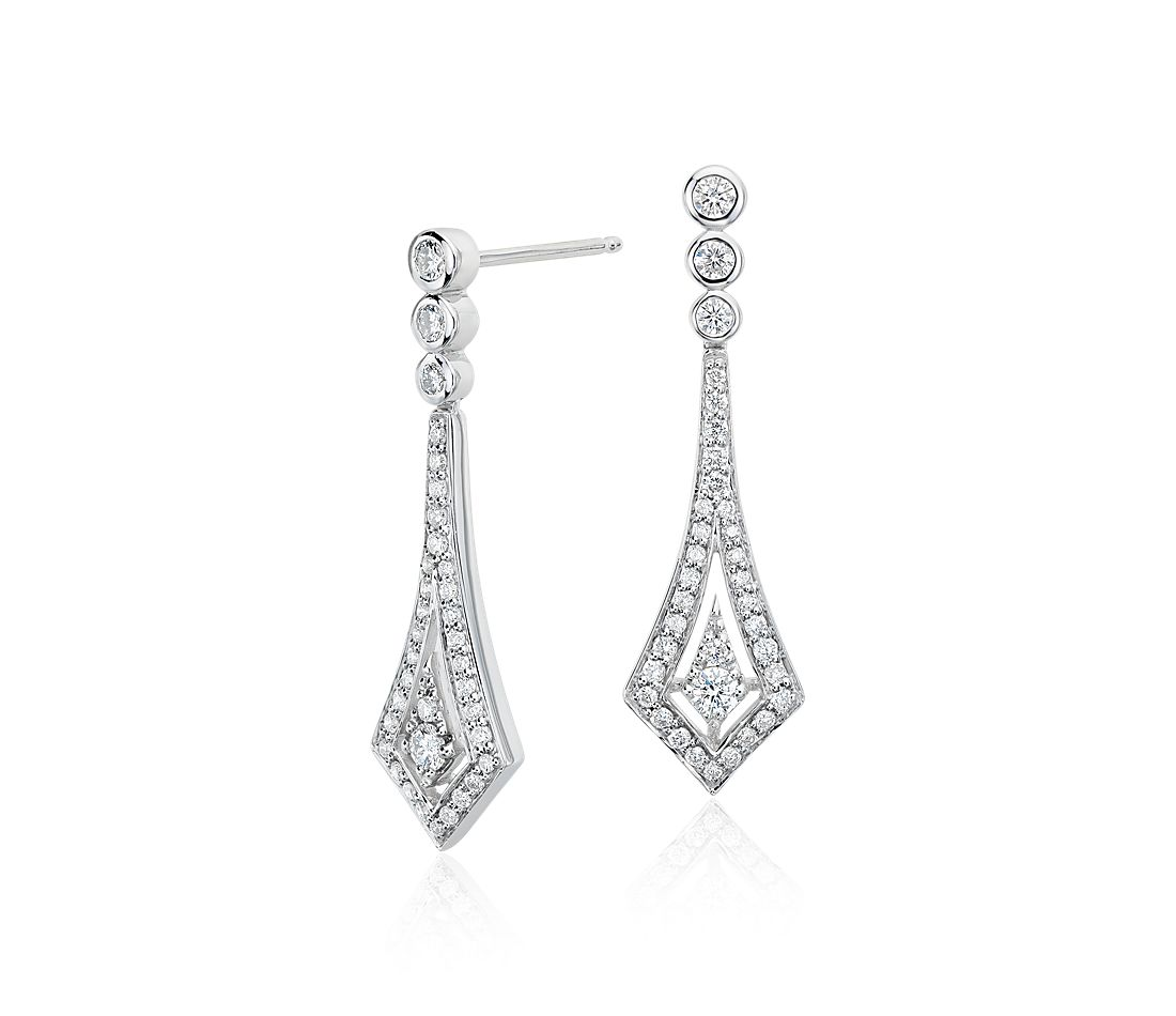 Deco Drop Diamond Earrings In 14k White Gold 1 2 Ct Tw