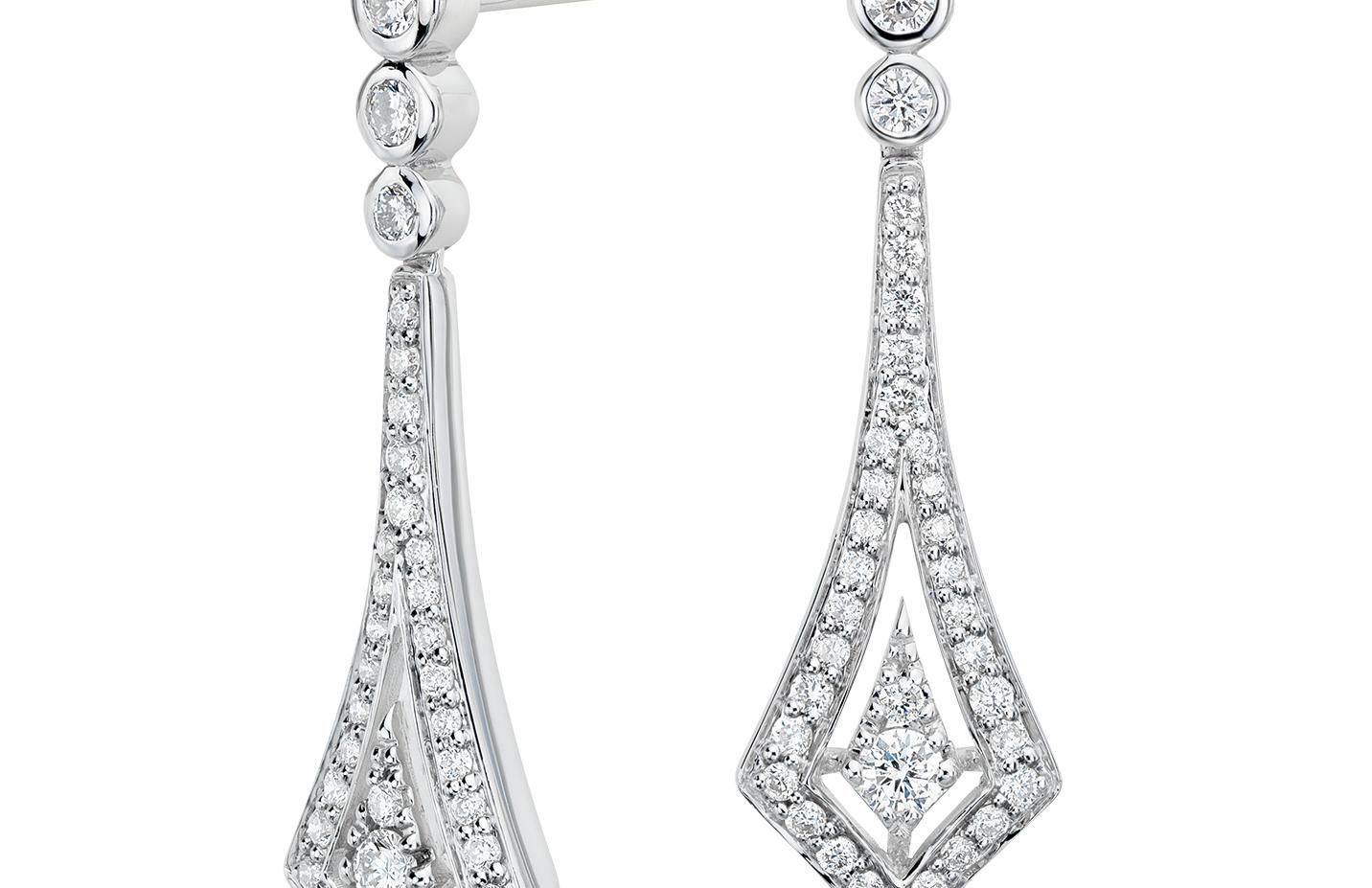 Deco Drop Diamond Earrings in 14k White Gold (1/2 ct. tw.)