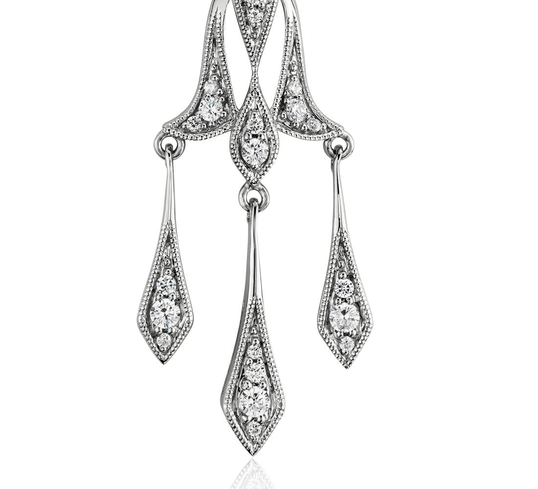 Colgante de diamante de gota decorativa en oro blanco de 14 k (1/3 qt. total)