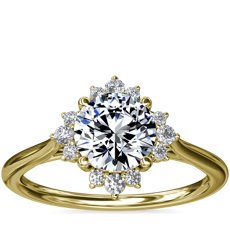 NEW Delicate Ballerina Halo Diamond Engagement Ring in 14k Yellow Gold