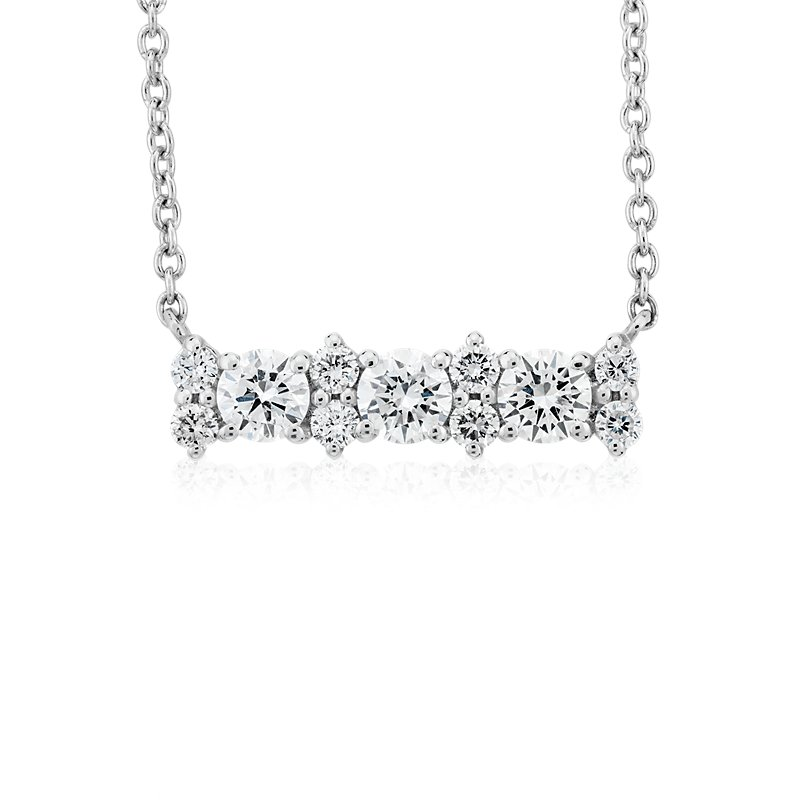 Delicate Diamond Bar Necklace in 14k White Gold (1/3 ct. tw.)